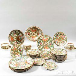 Thirty-four Pieces of Rose Medallion Porcelain Tableware.     Estimate $400-600
