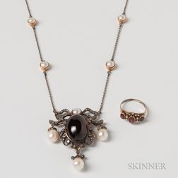 Garnet, Pearl, and Diamond Pendant and Necklace and a 10kt Gold and Garnet Ring