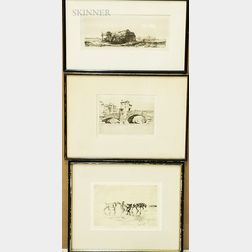 Two Framed Edmund Blampied Etchings and a 20th Century Rembrandt Etching.     Estimate $100-150