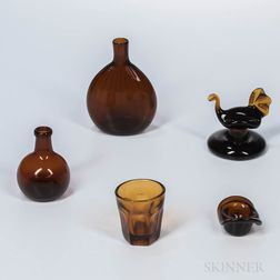 Five Amber Glass Items