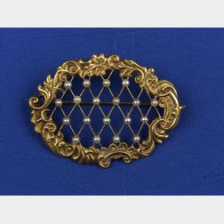 Edwardian 14kt Gold and Seed Pearl Brooch