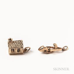Two 14kt Gold Figural Charms