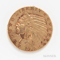 1911 $5 Liberty Head Gold Coin.     Estimate $200-400