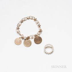 14kt Gold and Cultured Pearl Bracelet and a 14kt Gold and Cultured Pearl Circle Brooch