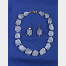 Chalcedony Bead Necklace and Earrings