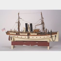 """Carved and Painted Wooden Model Of the Screw Steamer """"ROVER,"""""""