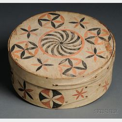 Rare Painted and Decorated White Pine and Maple Storage Box