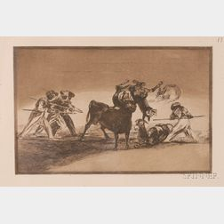 Francisco de Goya (Spanish, 1746-1828)      The Moors Use Donkeys as a Barrier to Protect Themselves