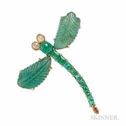 18kt Gold and Emerald Dragonfly Pendant/Brooch, Flora Tung