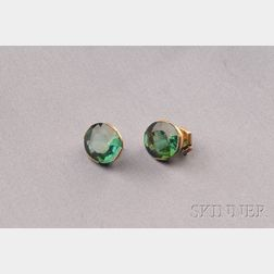 18kt Gold and Green Tourmaline Stud Earrings