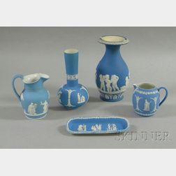 Five Wedgwood Light Blue Jasper Dip Items