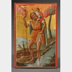 Greek Icon of Saint Christopher Carrying Christ Across the River