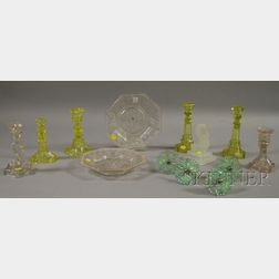Twelve Pieces of Assorted Colored and Colorless Sandwich Glass Table Items