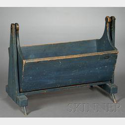 Blue-painted Blue Cradle on Base