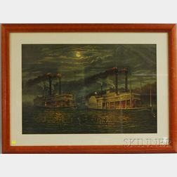 Donaldson Art Sign Co., publisher (Cincinnati, Late 19th/Early 20th Century) Night-time Race Between Paddlewheelers Natchez and the...