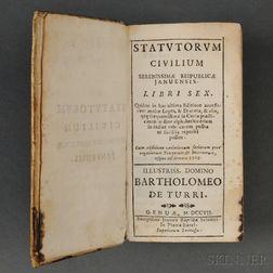 Statutorum Civilum Serenissimae Reipublicae Januensis. Libri Six