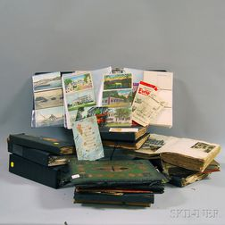 Collection of Mostly Early to Mid-20th Century Travel Memento Scrap Albums,   Postcards, and Greeting Cards