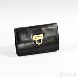 Salvatore Ferragamo Black Leather Evening Bag