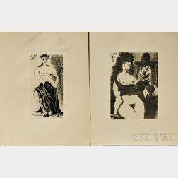 Pablo Picasso (Spanish, 1881-1973)      Two Plates,   Une maja posant sur un piédestal