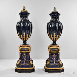 Pair of Sarreguemines Majolica Covered Floor Urns