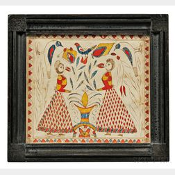 Fraktur of Two Women with Birds