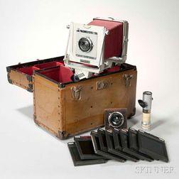 Graflex 4 x 5 Monorail Camera and Two Goerz Lenses