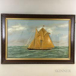 Thomas Willis (American, 1850-1925)       Portrait of a Schooner Yacht