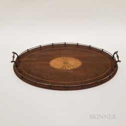 Regency-style Inlaid and Sterling Silver-mounted Mahogany Tray