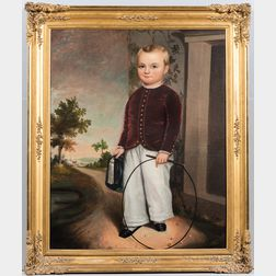 American School, Mid-19th Century      Portrait of a Boy with a Small Whip Holding a Tasseled Cap