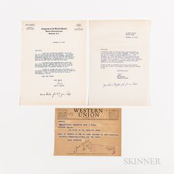 Kennedy, John F. (1917-1963) and Robert F. Kennedy (1925-1968), Three Documents of Thanks Related to JFK's 1952 Senatorial Campaign.