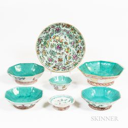 Seven Pieces of Chinese Famille Porcelain Tableware