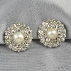 Platinum, Natural Pearl, and Diamond Earclips