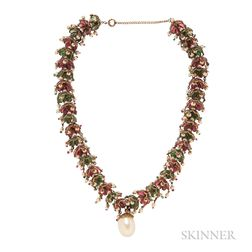 Vintage Gilt-metal and Multicolored Glass Necklace, Attributed to Maison Gripoix for Chanel