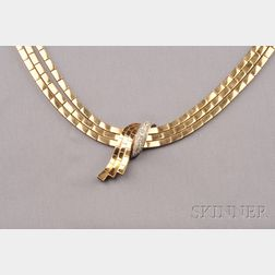 Retro 18kt Rose Gold and Diamond Necklace, France