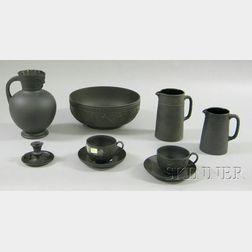 Nine Wedgwood Black Basalt Items