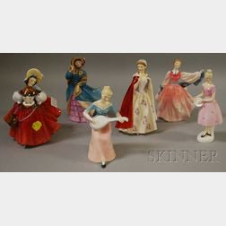 Six Royal Doulton Porcelain Figures of Ladies