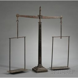 Paint-decorated Cast and Wrought Iron Balance Scale