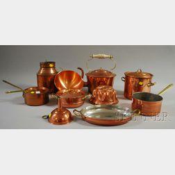 Ten Pieces of Copper Kitchenware.