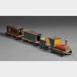 Polychrome-painted Tin Toy Train Set