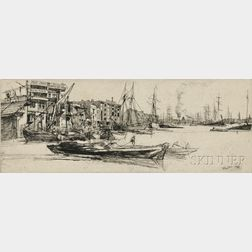 James Abbott McNeill Whistler (American, 1834-1903)      Thames Warehouses