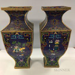 Large Pair of Cloisonne Vases