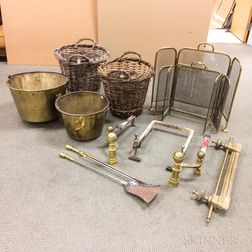 Group of Mostly Brass Fireplace Accessories
