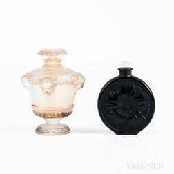Molinard Molded Black Glass Perfume and Guerlain Molded Glass Perfume