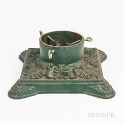 Green-painted Cast Iron Christmas Tree Stand
