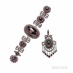 Antique Garnet Bracelet and Pendant