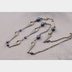 Art Nouveau Silver and Enamel Chain