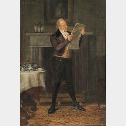 "George Jarvis (British, fl.1874-1890)      Sir George Harvey Reading ""The Morning Post"""