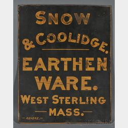 Painted and Bronzed Tin Pottery Trade Sign