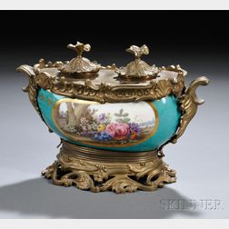 Sevres-style Bronze-mounted Porcelain Inkstand