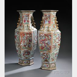 Pair of Rose Mandarin Chinese Export Porcelain Vases